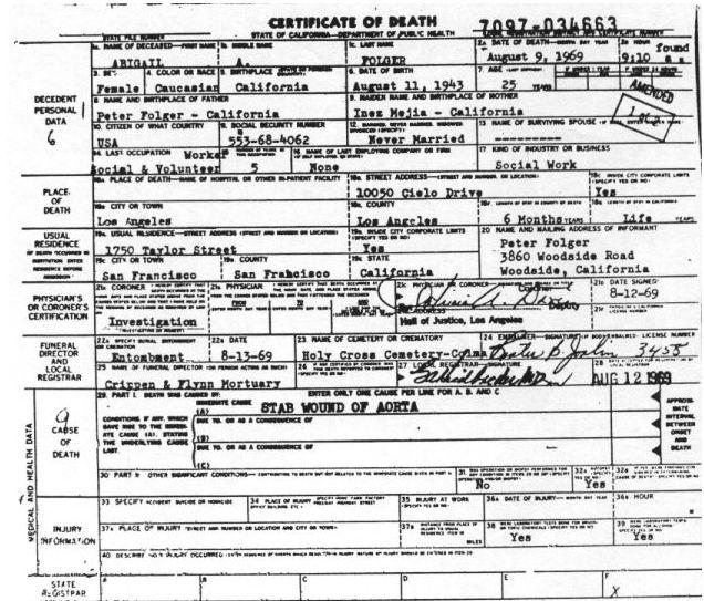 death certificate -