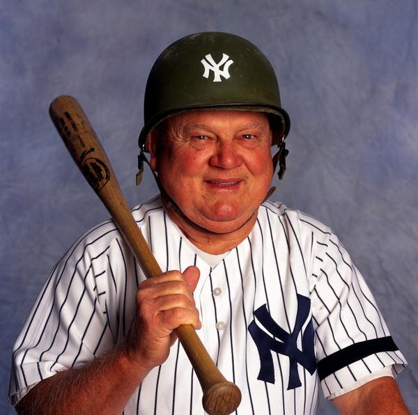 Don Zimmer - Baseball: Closeup of New York Yankees coach Don Zimmer wearing unusual military helmet during photo shoot at Yankee Stadium.  Bronx, NY 8/17/2000 CREDIT: Neil Leifer