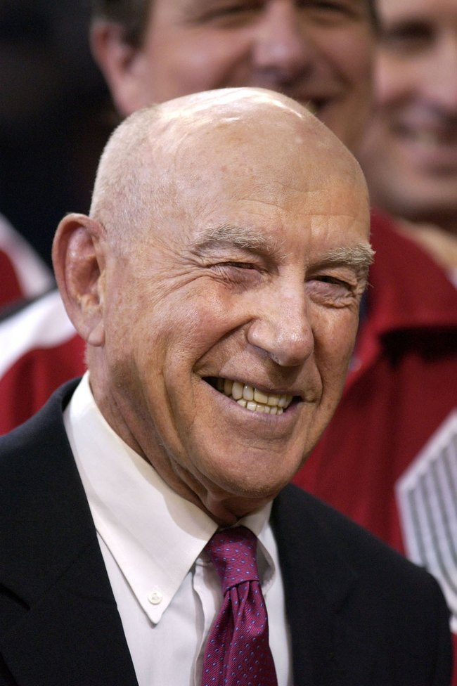 Jack Ramsay - FILE - In this Sunday, April, 14, 2002, file photo, former Portland Trail Blazers coach Jack Ramsay smiles during a special 25th anniversary reunion of the Trail Blazers' 1976-77 championship team at halftime of their NBA basketball game against the Los Angeles Lakers, in Portland, Ore. Ramsay, a Hall of Fame coach who led the Portland Trail Blazers to the 1977 NBA championship before he became one of the league's most respected broadcasters, has died following a long battle with cancer. He was 89. (AP Photo/Shane Young, File)