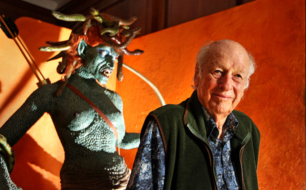 Ray Harryhausen Myths And Legends Exhibition - LONDON, ENGLAND - JUNE 29:  Special effects creator Ray Harryhausen poses for photographs with an enlarged model of Medusa from his 1981 film 'Clash Of The Titans' at the The Myths And Legends Exhibition at The London Film Museum on June 29, 2010 in London, England. Ray Harryhausen is considered the father of modern day special effects. In total Ray made sixteen landmark fantasy films including 'Jason And The Argonauts' (1963), 'One Million Years BC' (1966) and his last feature 'Clash Of The Titans' (1981). The exhibition includes original models and artwork and opens on June 29, 2010.  (Photo by Peter Macdiarmid/Getty Images) *** Local Caption *** Ray Harryhausen