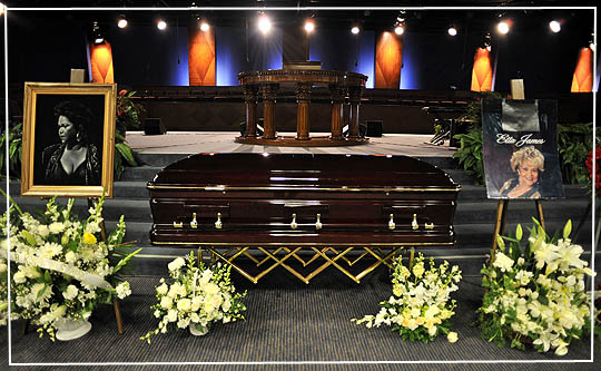 Etta James Funeral - GARDENA, CA - JANUARY 28: The casket is viewed during the funeral service of Etta James on January 28, 2012 in Gardena, California. (Photo by Toby Canham/Getty Images)
