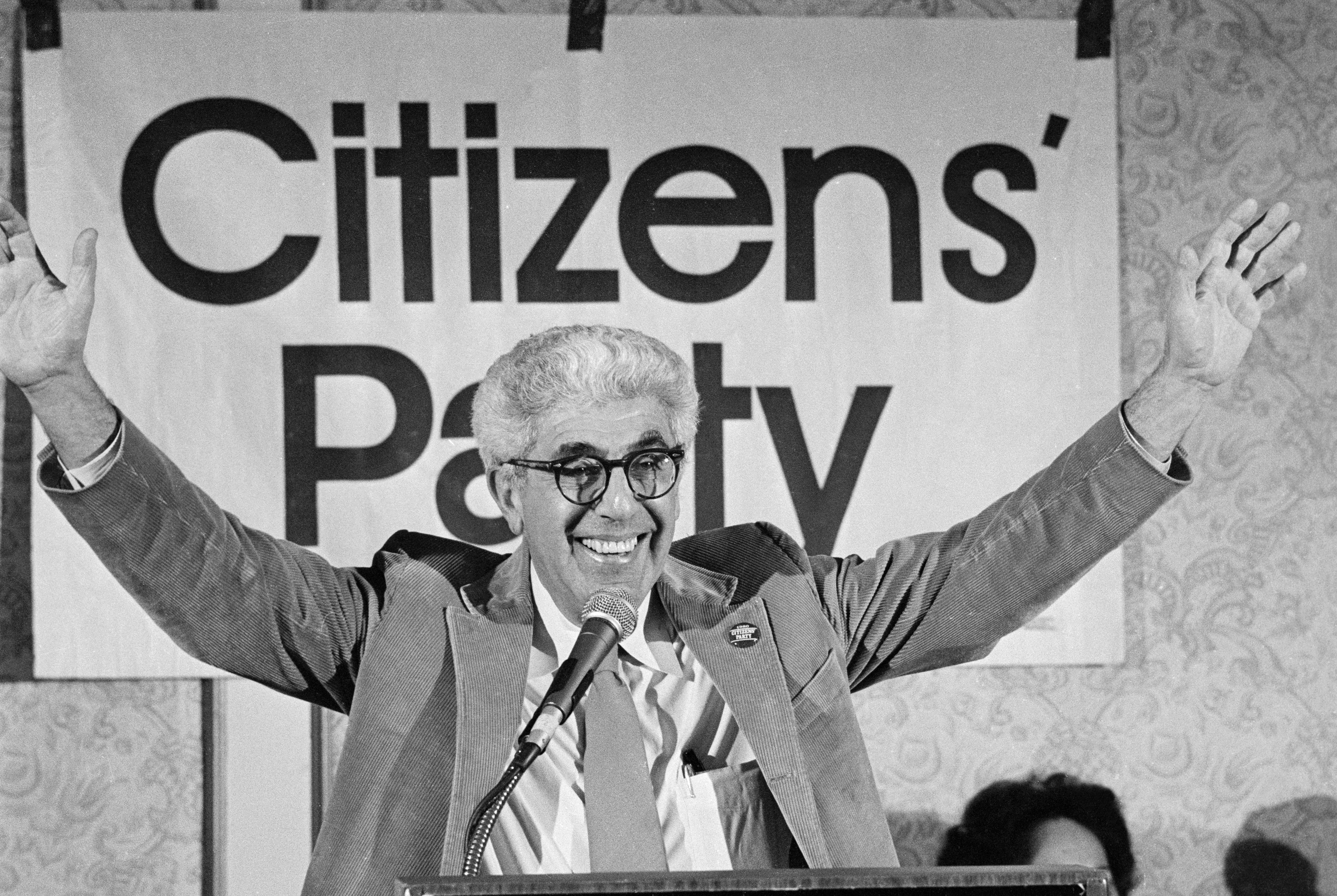 Portrait of Dr. Barry Commoner - Dr. Barry Commoner acknowledges cheers of delegates after accepting the Citizens' Party's nomination for president.  About 300 delegates from 32 states attended the new party's first national convention. (Copyright Bettmann/Corbis / AP Images)