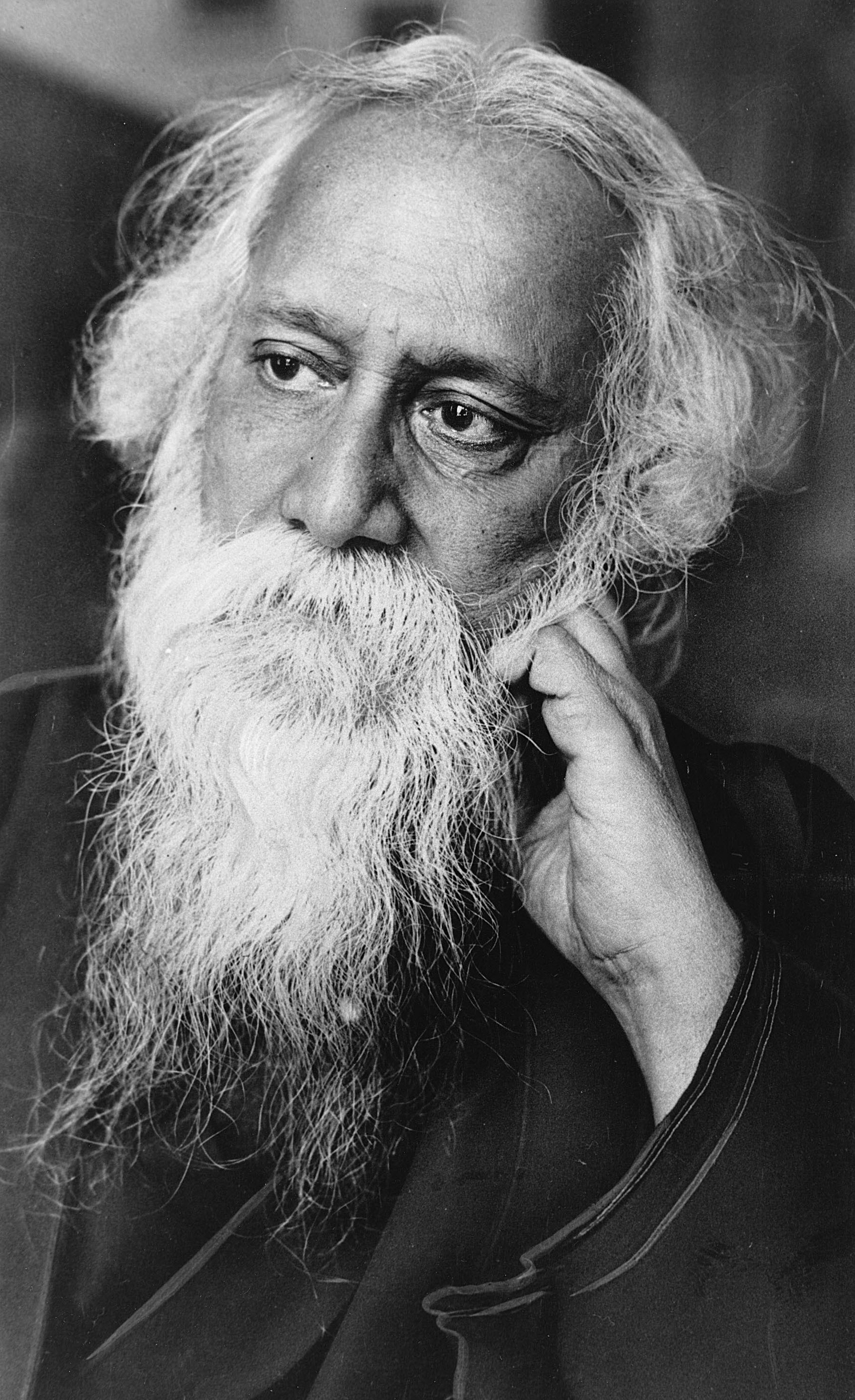 Tagore - This is an undated photo of Sir Rabindranath Tagore, Hindu poet, writer and philosopher, in Calcutta, India.  Tagore was born in Calcutta in 1861 and was the first Asian to receive the Nobel Prize in literature in 1913.  He was knighted in 1915, but denounced the honor in 1919 to protest against British policy in Punjab.  He died on Aug. 7, 1941.  (AP Photo) ORG XMIT: APHS103