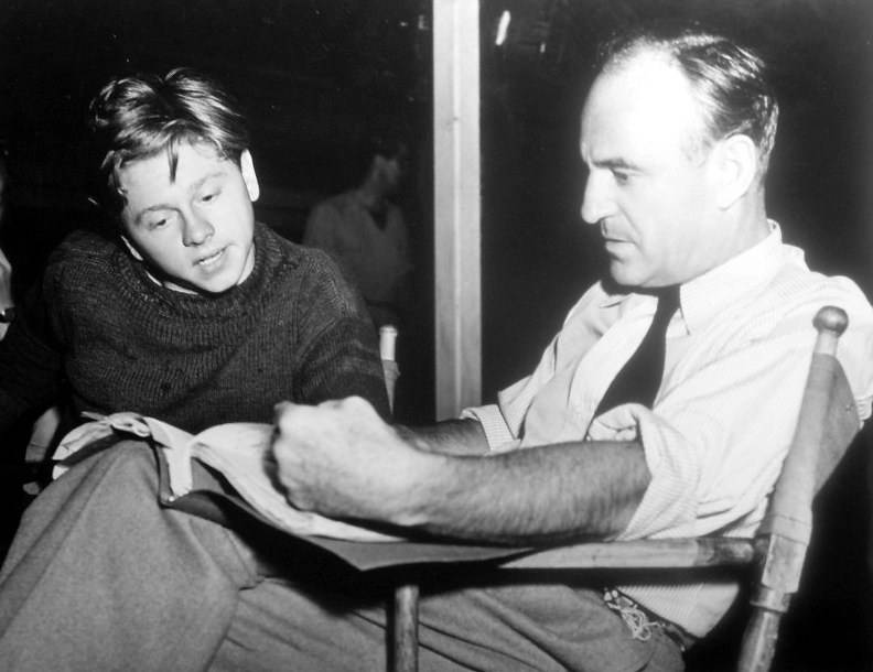 mickey_rooney_and_sam_wood_on_the_set_of_stablemates -